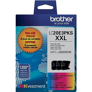 Brother LC20E Color Ink, LC20E3PKS, Extra High Yield, 3/Pack