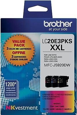 Brother Genuine LC20E3PKS Cyan, Magenta, Yellow Super High Yield Original Ink Cartridges Multi-pack (3 cart per pack)