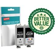 Staples® Remanufactured Inkjet Cartridges, Canon PGI-35 (1509B002) Black/CLI-36 (1511B002) Color, Combo Pack