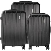 Bugatti 3-Piece Lightweight Hard Case Luggage Set, Black