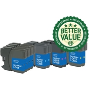 Staples® Remanufactured Inkjet Cartridges, Brother LC-61 (LC61Black/LC61C/LC61M/LC61Y) Black, Cyan, Magenta, Yellow, Super-Pack