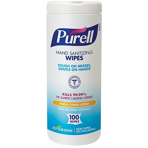 PURELL® Hand Sanitizing Wipes, Fresh Citrus Scent, 100 Count Eco-Slim  Canister (9111-12)