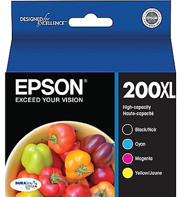 Epson 200XL High Yield Black and Color C/M/Y Ink Cartridges (T200XL-XCS), Combo 4/Pack