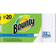 Bounty® Select-A-Size™ Paper Towels, White, 12 Mega Rolls = 20 Regular Rolls (89074)