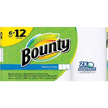 Bounty® Select-A-Size™ Paper Towels, White, 6 Double Rolls = 12 Regular Rolls (88299)