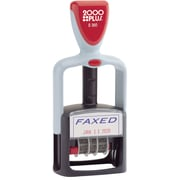 """2000 PLUS® Self-Inking Two-Color Dater, """"FAXED"""", 1 1/4"""" x 1 3/16"""" Impression, Blue and Red Ink"""