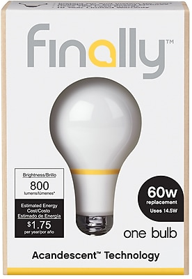 Finally 60W Equiv. Acandescent A19 Lightbulb, Soft White