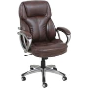 Global Leather Executive Office Chair, Fixed Arms, Brown (GF-9195H)