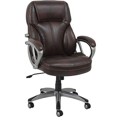 Global BarcaLounger Leather Executive Office Chair, Fixed Arms, Black (GF-9195H-1)