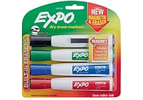 Expo® Magnetic Dry Erase Markers with Eraser, Chisel Tip, Assorted, 4/pk (1944728)