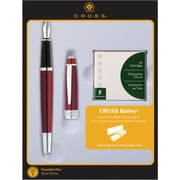 Cross Bailey Red Lacquer Fountain Pen Gift Set with Ink Cartridges