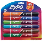 Expo® Dry Erase 2-in-1 Markers, Chisel Tip, Assorted, 6/pk (1944657)
