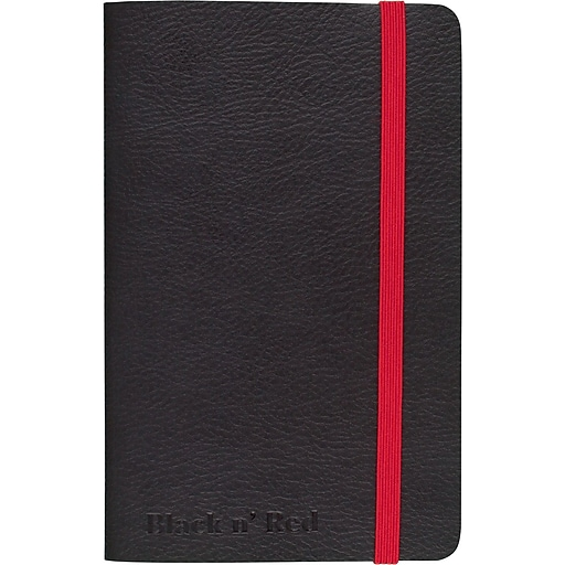 "BLACK by Black n' Red™ Business Notebook, 71 Sheets, A6, 5-1/2"" x 3-1/2"", Black"
