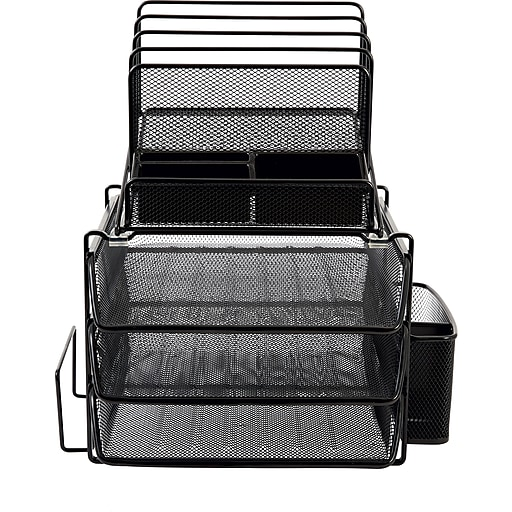 Staples 174 All In One Black Wire Mesh Desk Organizer Staples
