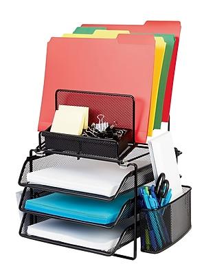 Staples® All-in-One Black Wire Mesh Desk Organizer