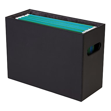 Staples® File Box Faux Leather, Black