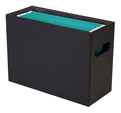 Staples® File Box, Faux Leather, Black