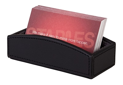Staples® Business Card Holder Faux Leather, Black