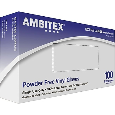 Ambitex Disposable Gloves, Vinyl, Extra Large, Clear, Powder-Free, 1,000/Carton