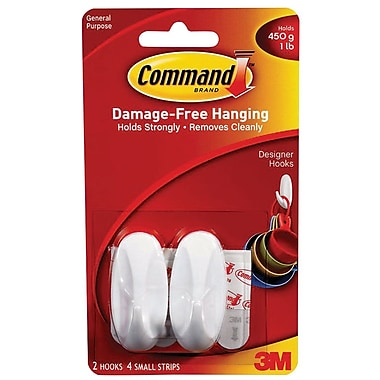 Command™ Small Designer Hooks, White, 2/Pack