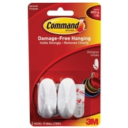 Command™ Small Designer Hooks, White, 2/Pack (17082ES)