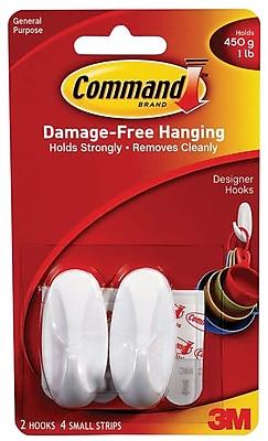 Command™ Small Designer Hooks, White, 2/Pack