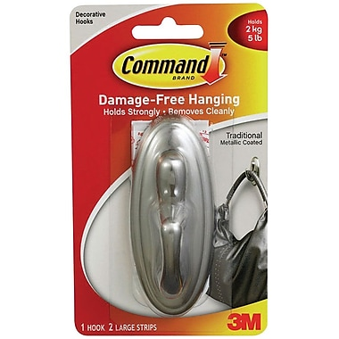 Command™ Large Traditional Hook, Brushed Nickel, Each (17053BN-ES)