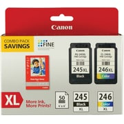 Canon PG245XL/CL246XL Black/Tricolor XL Multi-pack (2 cart per pack) with Paper (8278B005AA)