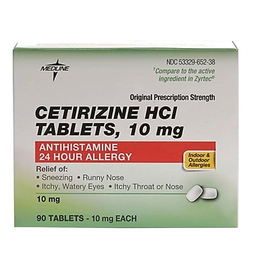 medline otc6817n cetirizine allergy tablets 90 tablets/bottle, Skeleton