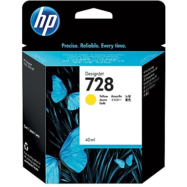 HP 728 Ink Cartridge, Inkjet, Yellow, (F9J61A)