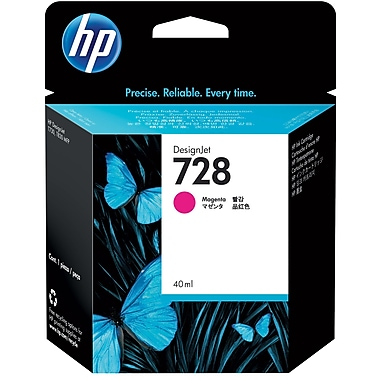 HP 728 Ink Cartridge, Inkjet, Magenta, (F9J62A)