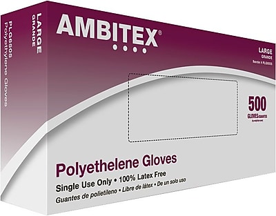 Ambitex Food Service Gloves, Large, 1.25 ml, 500/Box