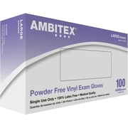 Ambitex® Synthetic Vinyl Exam Gloves, Powder Free, Large, 100/Box
