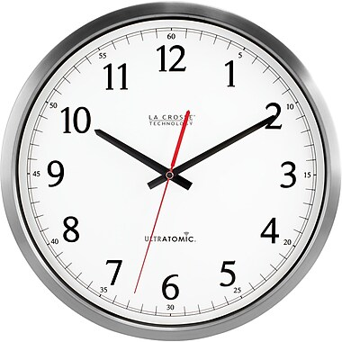 La Crosse Technology 404-1235UA-SS 14 Inch UltrAtomic Analog Wall Clock - Silver