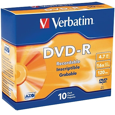 Verbatim 95099 4.7 GB DVD-R Slim Jewel Case, 10/Pack