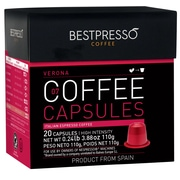 Bestpresso® Compatible Nespresso® Pods, Verona Blend, 20 Capsules per Box (BEST-07VERONA)