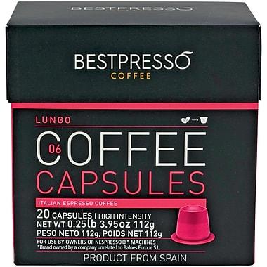 Bestpresso® Compatible Nespresso® Pods, Lungo Blend, High Intensity, 20 Capsules/Box (BEST-06LUNGO)
