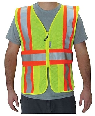 OccuNomix® Premium Mesh Two-Tone Expandable Safety Vest, High Visibility Yellow, 3/4X