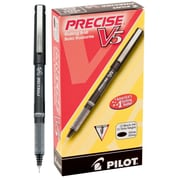 Pilot Precise V5 Extra Fine Point Premium Rolling Ball Stick Pens, 0.5 mm, Black, 12/Pack (35334)