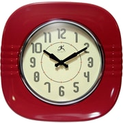 Infinity Instruments 15026RD-4023 Classic Diner 11 inch Square Wall Clock, Red