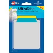 "Avery® Tab & Note Ultra Tabs™, Primary (Yellow, Blue), 3"" x 3-1/2"", Pack of 12 Repositionable, Two-Side Writable Tabs"