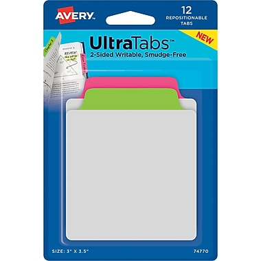 Avery® Tab & Note Ultra Tabs™, Neon (Pink, Green), 3