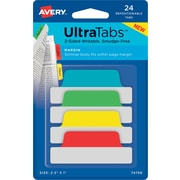 """Avery® Margin Tab Ultra Tabs™, Primary (Red, Yellow, Blue, Green), 2-1/2"""" x 1"""", 24 Pack Repositionable, Two-Side Writable Tabs"""