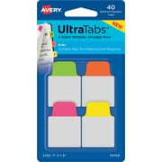 "Avery® Mini Ultra Tabs™, Neon (Pink, Yellow, Green, Orange), 1"" x 1-1/2"", Pack of 40 Repositionable, Two-Side Writable Tabs"