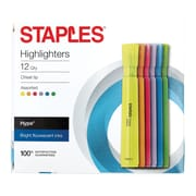 Staples® Hype® Tank Highlighters, Chisel, Assorted, 12/PK (29204)