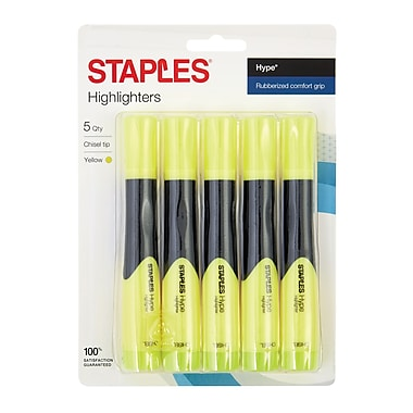 STAPLES® HYPE® GRIPPED TANK HIGHLIGHTERS, CHISEL, YELLOW 5PK (29219)