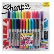 Sanford Sharpie® Permanent Markers, Ultra-Fine Tip, Assorted, 24/Pak