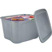 Bella Storage Solution® 18 Gallon Plastic Flat Lid Tote, Silver
