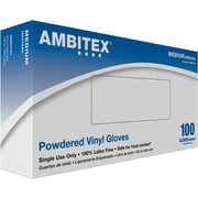Ambitex® Powdered Disposable Vinyl Gloves, Clear, Medium
