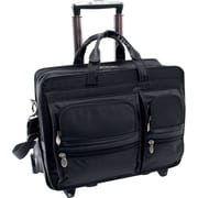 McKlein P Series, CLINTON, Tech-Lite Ballistic Nylon, Nylon Patented Detachable -Wheeled Laptop Briefcase, Black (58445)